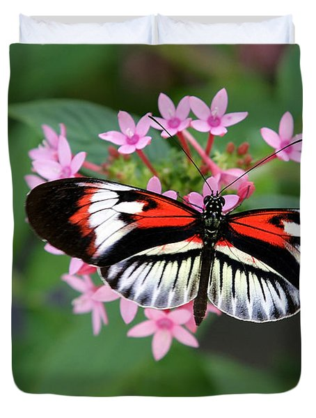 Piano Key Butterfly On Pink Penta Duvet Cover