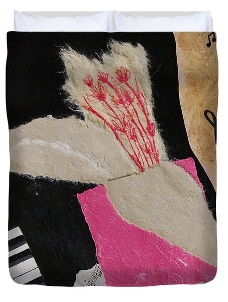 Duvet Cover featuring the painting Piano Still Life by Mini Arora