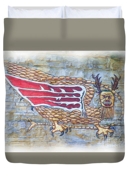 Duvet Cover featuring the photograph Piasa Bird In Oils by Kelly Awad