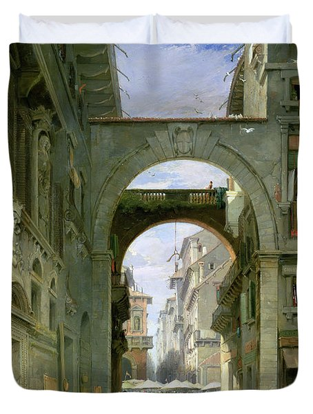 Piazza Dei Signori In Verona Duvet Cover