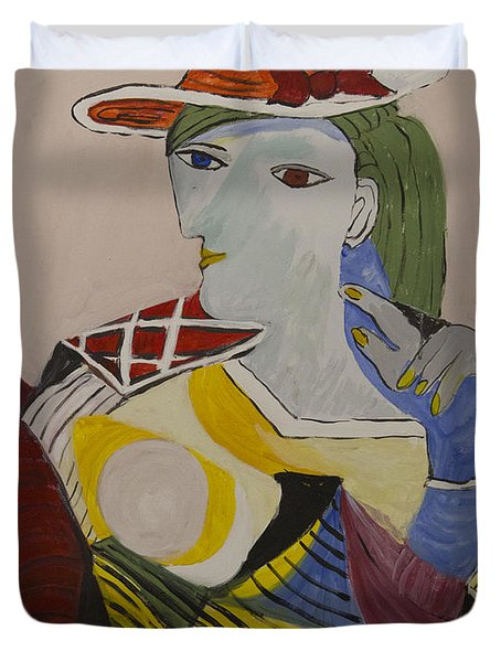 Picasso's Seated Woman Copy #2  Duvet Cover by Avonelle Kelsey