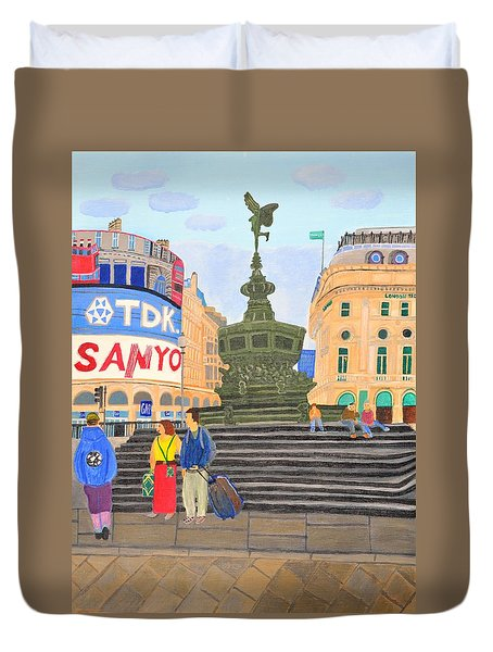 Duvet Cover featuring the painting London- Piccadilly Circus by Magdalena Frohnsdorff