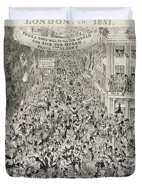 Piccadilly During The Great Exhibition Duvet Cover by George Cruikshank