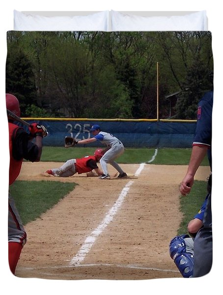 Pick Off Attempt At 1st Base Duvet Cover by Thomas Woolworth