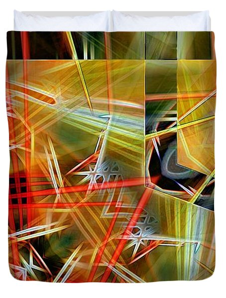 Pick Up Sticks In Geometry Duvet Cover by Ron Bissett