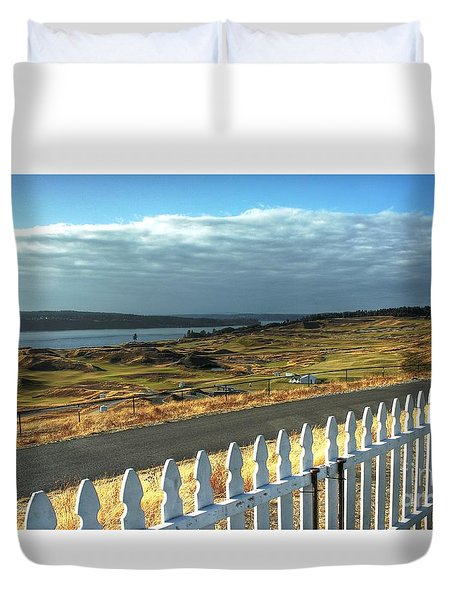 Duvet Cover featuring the photograph Picket Fence - Chambers Bay Golf Course by Chris Anderson