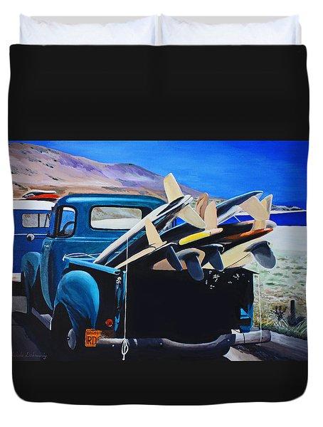 Pickup Truck Duvet Cover by Chikako Hashimoto Lichnowsky