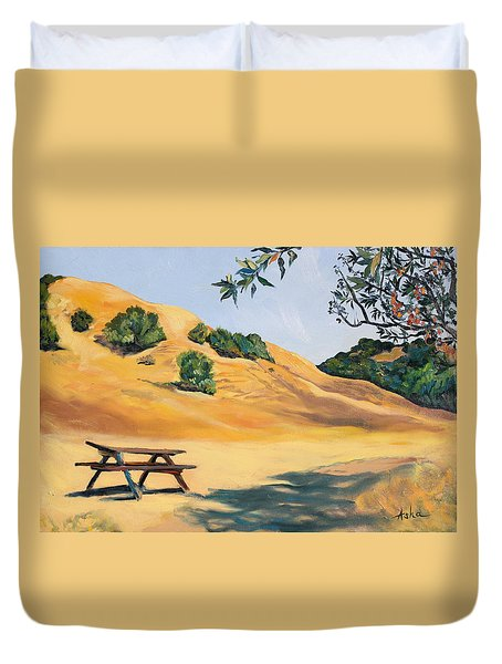 Duvet Cover featuring the painting Picnic Table And Yellow Hills At Briones Park by Asha Carolyn Young