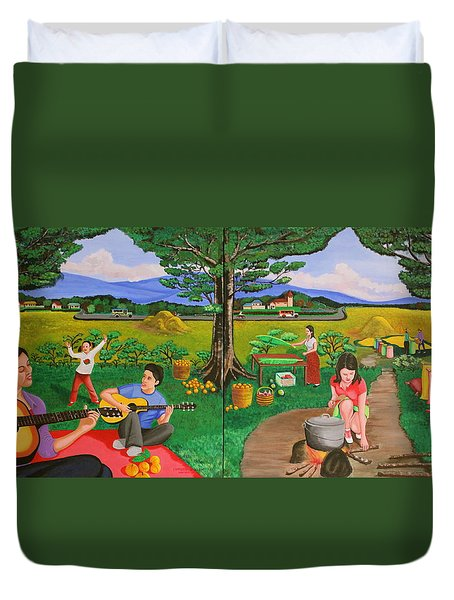 Picnic With The Farmers And Playing Melodies Under The Shade Of Trees Duvet Cover