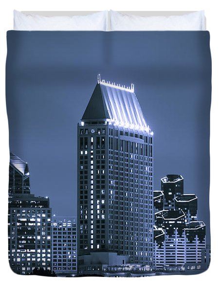 Picture Of San Diego Night Skyline Duvet Cover by Paul Velgos