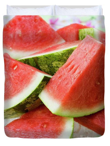 Pieces Of Watermelon On A Glass Platter Duvet Cover