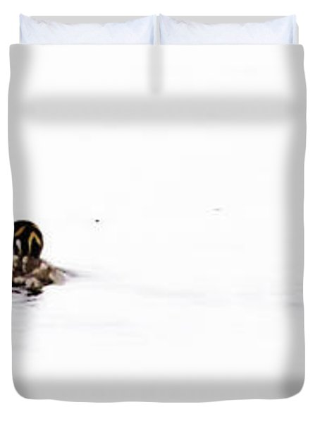 Pied-billed Grebe Babies Duvet Cover