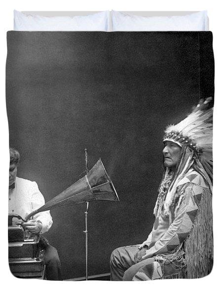 Piegan Chief Having Voice Recorded Duvet Cover