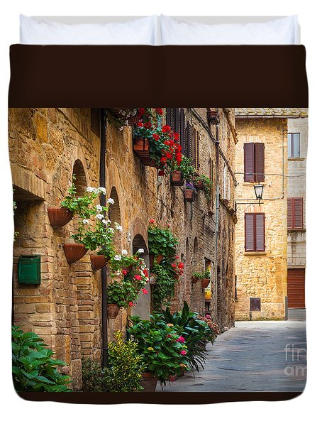 Pienza Street Duvet Cover by Inge Johnsson