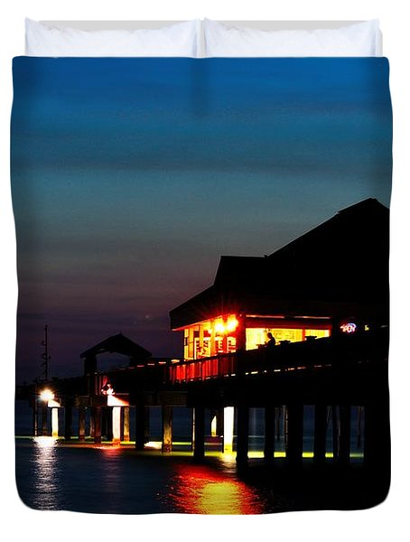 Duvet Cover featuring the photograph Pier 60 In After Glow by Richard Zentner