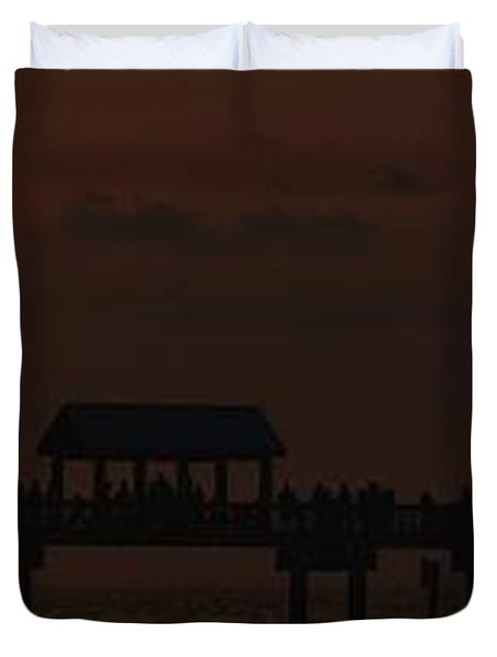 Duvet Cover featuring the photograph Pier 60 Sunset Panorama by Richard Zentner