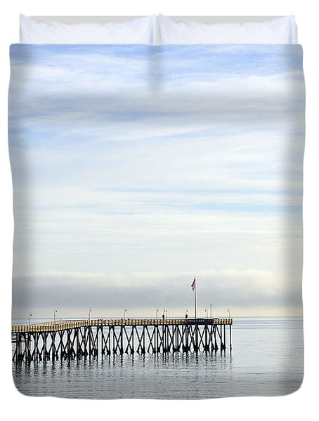 Duvet Cover featuring the photograph Pier by Gandz Photography