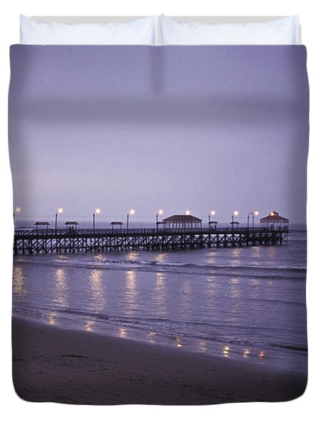 Pier At Dusk Duvet Cover