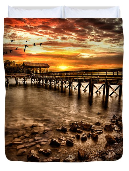 Pier At Smith Mountain Lake Duvet Cover