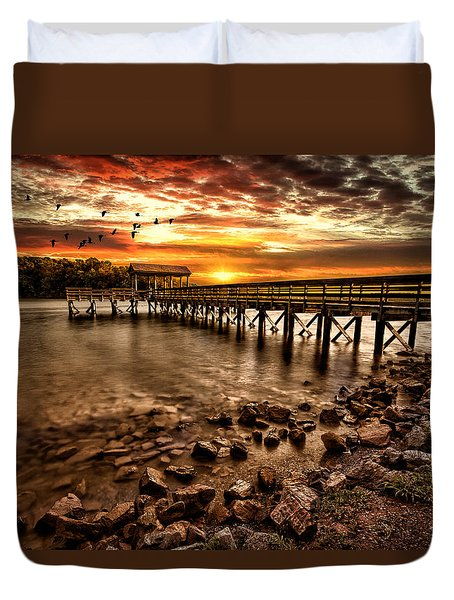 Duvet Cover featuring the photograph Pier At Smith Mountain Lake by Joshua Minso