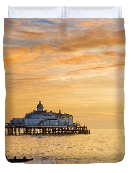 Pier At Sunrise Duvet Cover