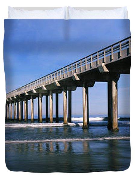 Pier In The Pacific Ocean, Scripps Duvet Cover