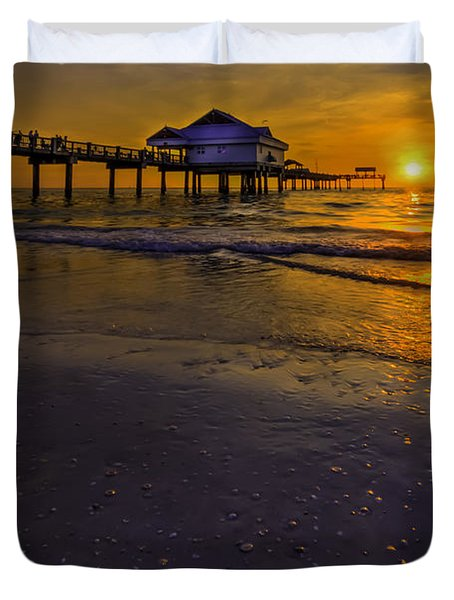 Pier Into The Sun Duvet Cover by Marvin Spates