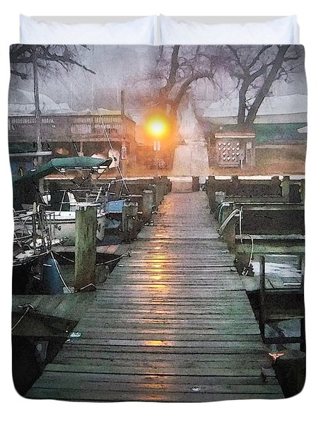 Pier Light - Watercolor Effect Duvet Cover by Brian Wallace