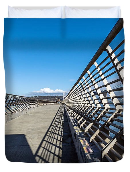 Duvet Cover featuring the photograph Pier Perspective by Kate Brown