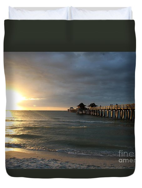 Pier Sunset Naples Duvet Cover by Christiane Schulze Art And Photography