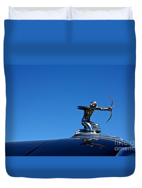Duvet Cover featuring the photograph 1938 Pierce Arrow by Linda Bianic