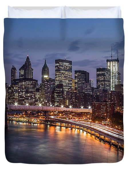 Piercing Manhattan Duvet Cover by Mihai Andritoiu