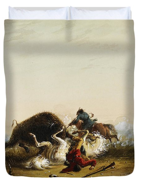 Pierre And The Buffalo Duvet Cover by Alfred Jacob Miller