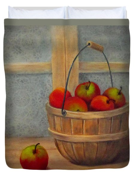 Duvet Cover featuring the painting Pies Anyone by Roseann Gilmore