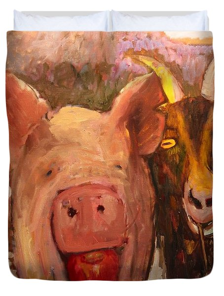 Pig And Goat Duvet Cover