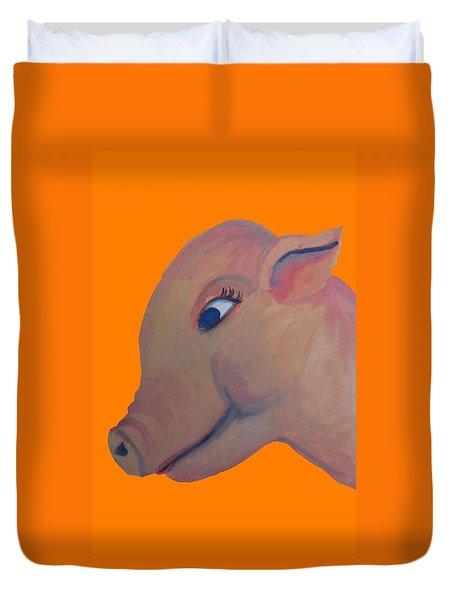 Pig On Orange Duvet Cover by Cherie Sexsmith