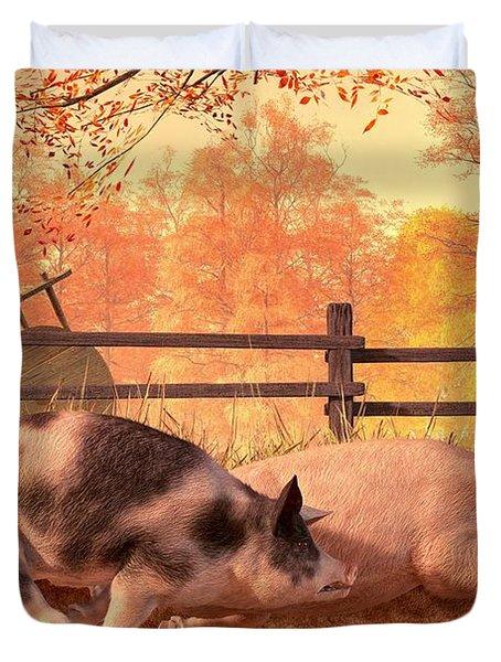 Pig Race Duvet Cover