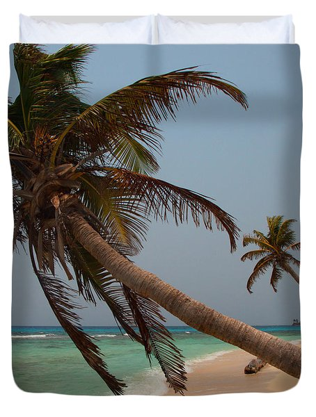 Pigeon Cays Palm Trees Duvet Cover