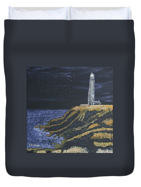 Pigeon Lighthouse Night Scumbling Complementary Colors Duvet Cover