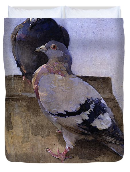 Pigeons On The Roof Duvet Cover