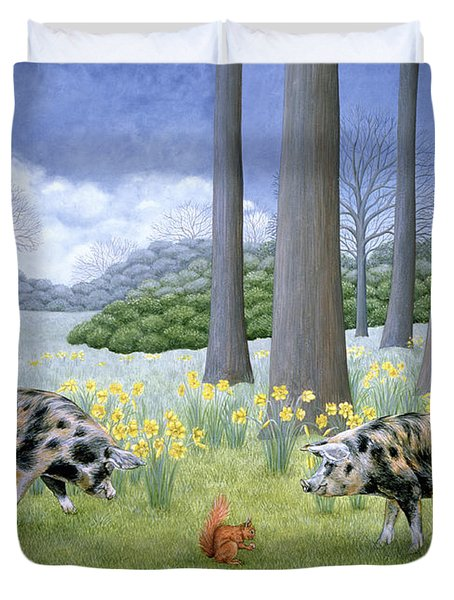 Piggy In The Middle Duvet Cover by Ditz