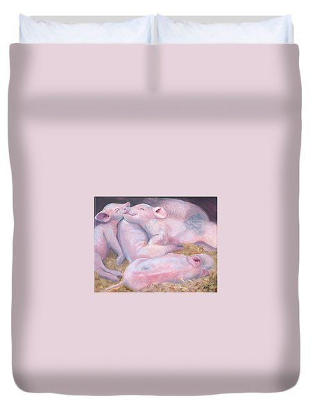 Piglets At Peace Duvet Cover by Deborah Butts