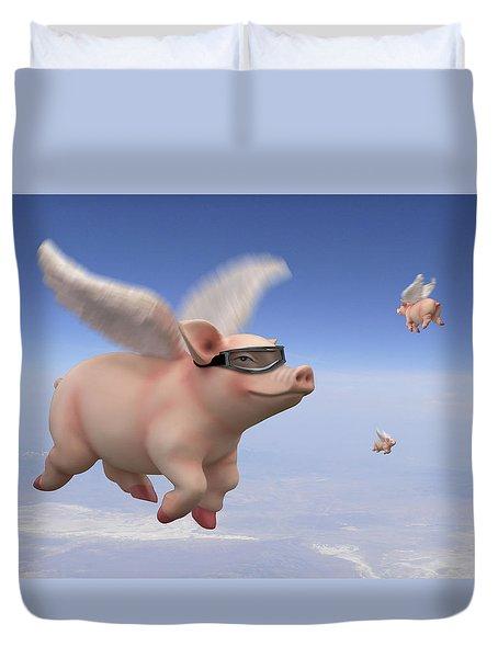 Pigs Fly 1 Duvet Cover by Mike McGlothlen