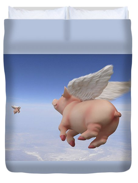 Pigs Fly 2 Duvet Cover by Mike McGlothlen