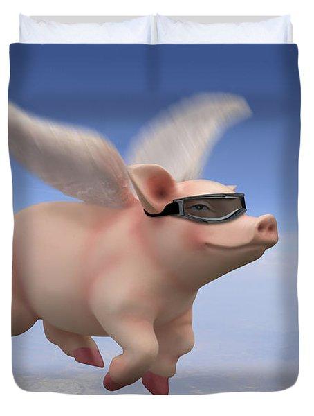 Pigs Fly Duvet Cover