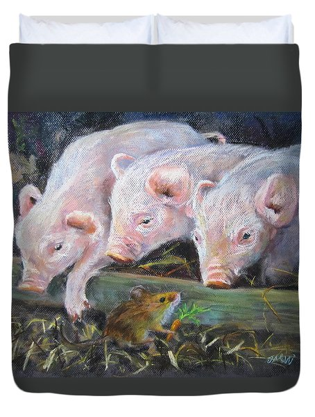 Duvet Cover featuring the painting Pigs Vs Mouse by Jieming Wang