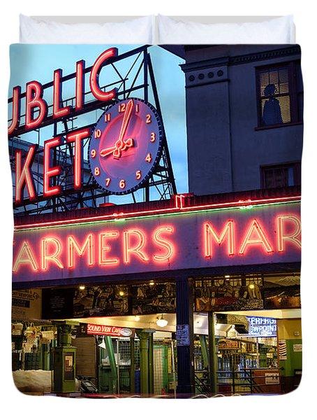 Pike Place Market At Dusk - Seattle Washington Duvet Cover
