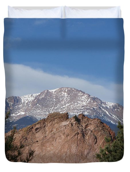 Pikes Peak 2 Duvet Cover by Ernie Echols
