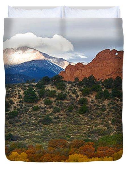Pikes Peak Fall Pano Duvet Cover