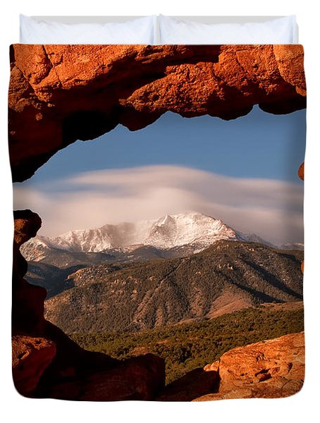 Pikes Peak Framed Duvet Cover